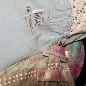 Justice Shirts & Tops - Justice 3 Piece Tops & Short Romper Bundle Size 20